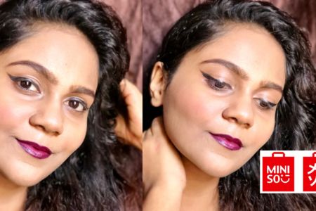 Wine Lips And Winged Liner Look With Miniso